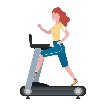 fitness exercise woman running over treadmill workout healthy fit lifestyle cartoon vector illustration graphic design