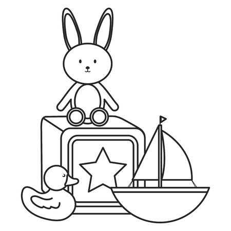 stuffed bunny and sailboat with block vector illustration design Banque d'images - 130707207