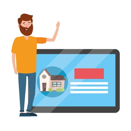real estate man looking for house to buy cartoon vector illustration graphic design