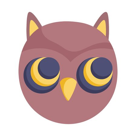 owl face bird animal icon vector illustration