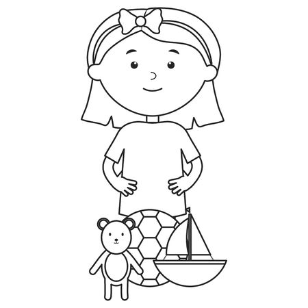 cute little girl with bear teddy and sailboat vector illustration design