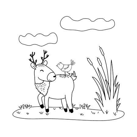 cute reindeer with bird in the field woodland characters vector illustration design Stock Illustratie