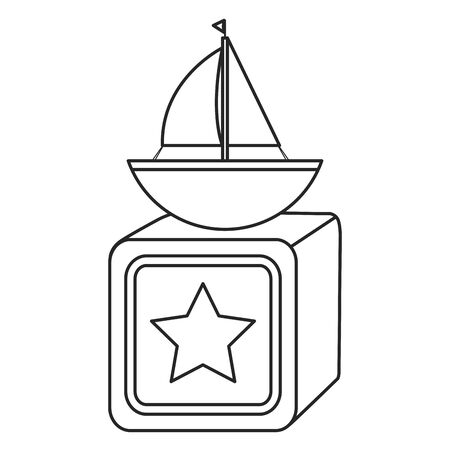 sailboat toy with block vector illustration design