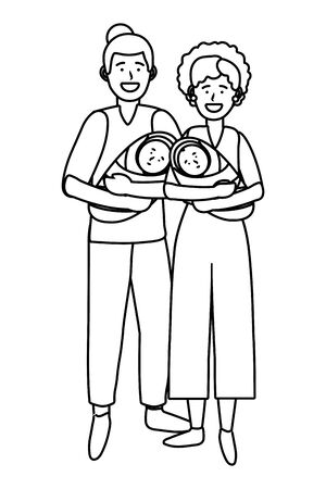 couple carrying babys avatar cartoon character black and white vector illustration graphic design