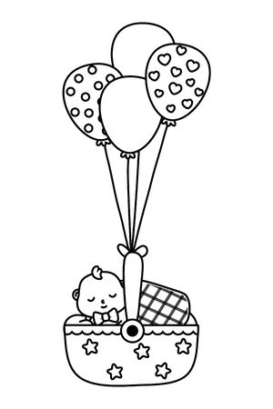 cradle with baby sleeping with a blanket and hanging with balloons vector illustration graphic design Illustration