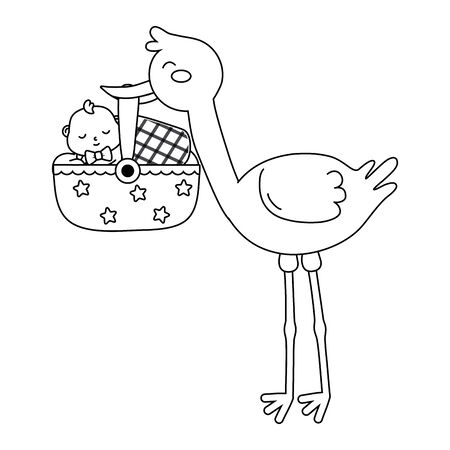 stork with baby in basket in black and white Standard-Bild - 130924442