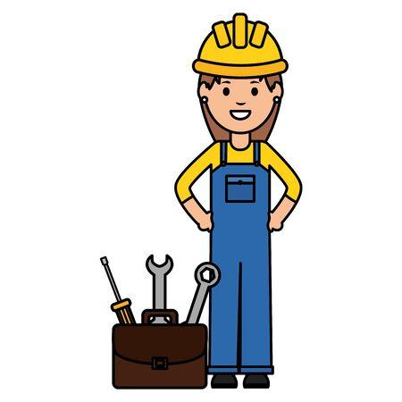 female builder worker with helmet and toolbox 向量圖像