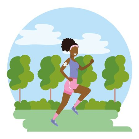 woman running with sportswear avatar cartoon character park landscape vector illustration graphic design Çizim