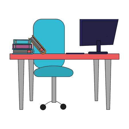 modern furniture desk cartoon vector illustration graphic design