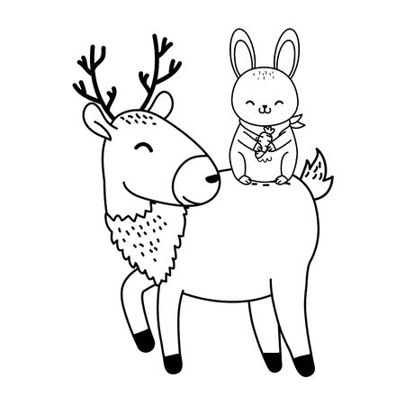 cute rabbit and reindeer woodland characters vector illustration design Stock Illustratie