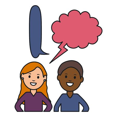 interracial couple with speech bubbles avatars characters vector illustration design Illustration