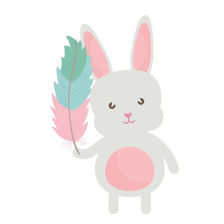 cute little rabbit lifting feather character vector illustration design