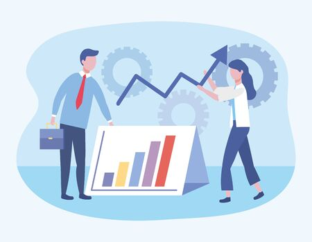 businessman and businesswoman with statistics bar and gears to teamwork strategy vector illustration Stock Illustratie