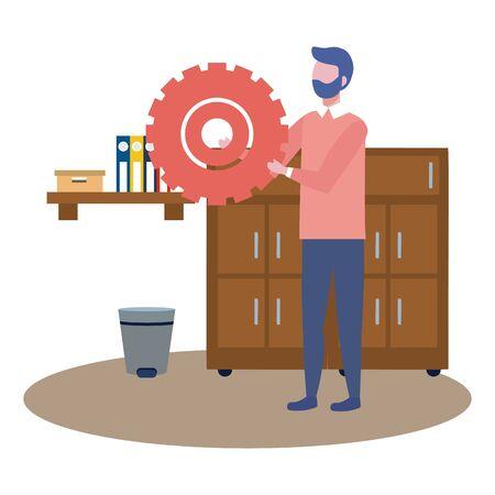 Businessman design, Man business management corporate job occupation and worker theme Vector illustration Çizim
