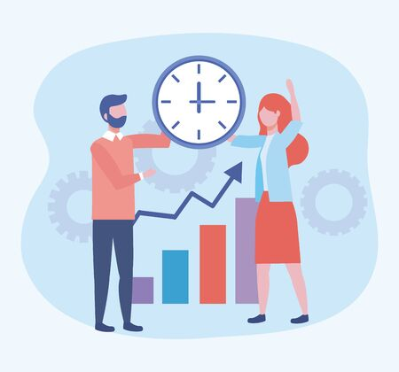 businessman and businesswoman with clock and statistics bar to teamwork strategy vector illustration Stock Illustratie