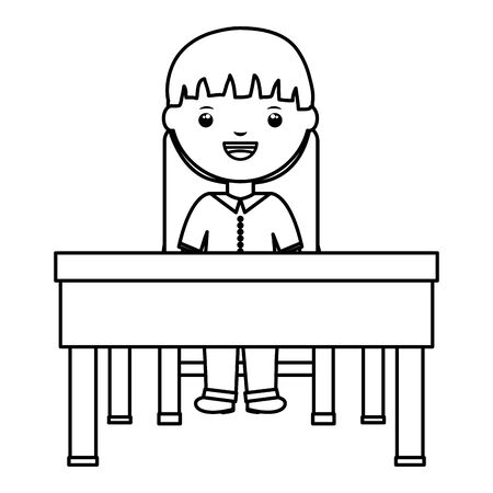 cute little student boy seated in schooldesk vector illustration design Çizim