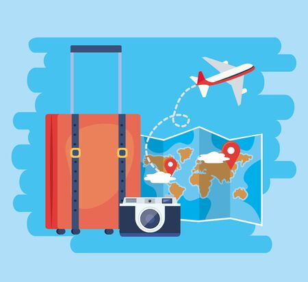 global map with location sign and baggage vector illustration