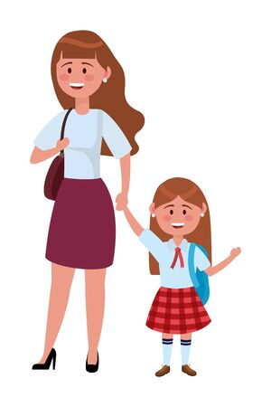 Mother and daughter going to school design, Family activities relationship generation lifestyle and people theme Vector illustration Standard-Bild - 130789208