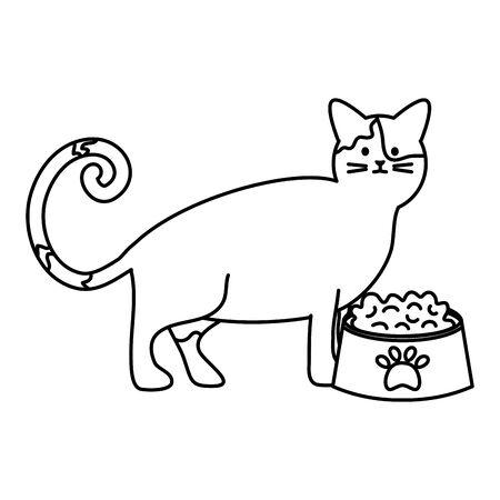 cute cat mascot with dish food vector illustration design