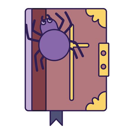 spell book spider trick or treat happy halloween vector illustration