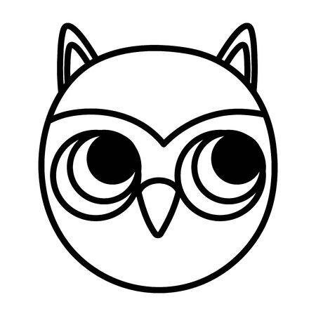 owl face bird animal icon line image Ilustração