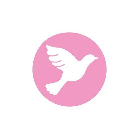 pigeon breast cancer awareness icon Ilustração