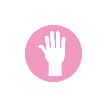 hand breast cancer awareness icon Ilustração