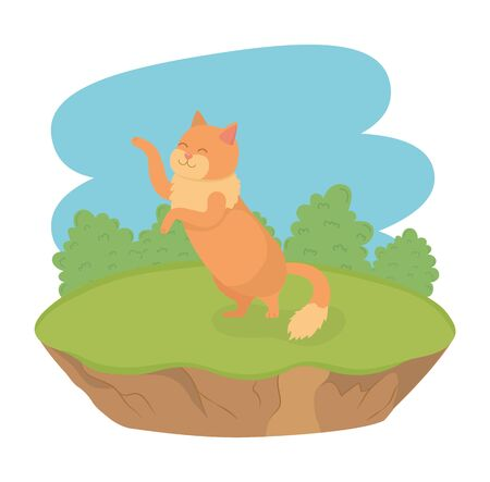 cute little cat mascot in the field character vector illustration design
