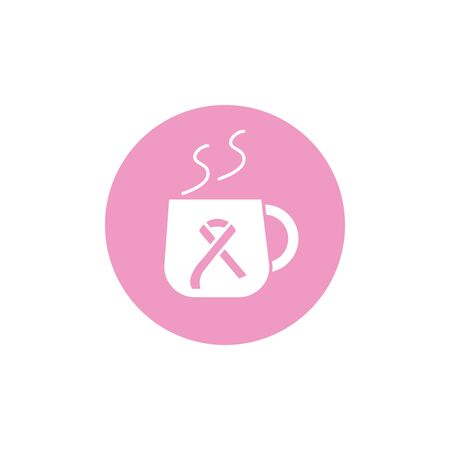 coffee cup ribbon cancer awareness