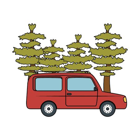 pines trees forest scene with car vector illustration design