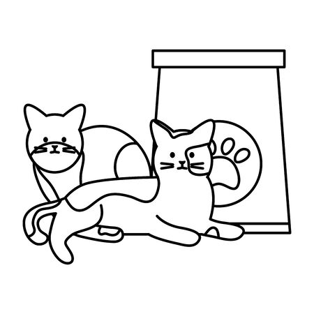 cute cats mascots with paper bag food