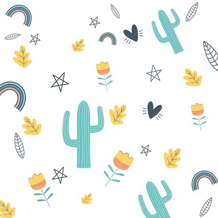 Cactus background design, Plant desert nature tropical summer mexico and western theme Vector illustration
