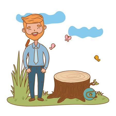 man avatar cartoon character forest landscape vector illustration graphic design