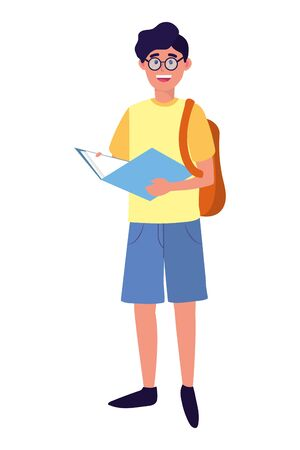 young people man wearing backpack cartoon vector illustration graphic design Illustration