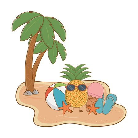 Summer pineapple with sunglasses ice cream and ball at beach with palms scenery vector illustration graphic design Stock Illustratie