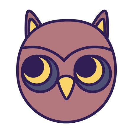 owl face bird animal icon Illustration