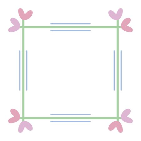 square frame with hearts decorative boho style vector illustration design