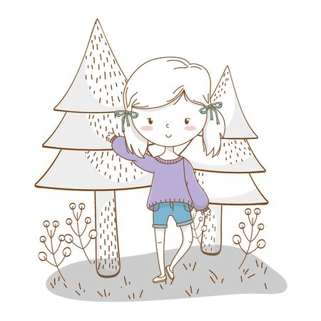 Cute girl cartoon stylish hairstyle nice outfit clothes blushing sweater and shorts waving hello nature trees background frame vector illustration graphic design  イラスト・ベクター素材