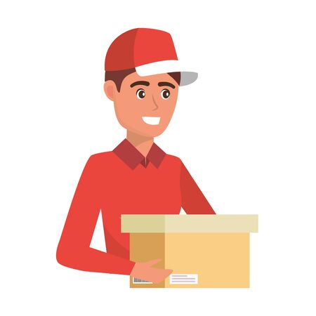 delivery service worker man holding box cartoon vector illustration graphic design