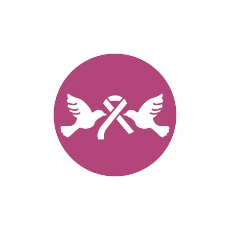 two pigeon with ribbon breast cancer awareness