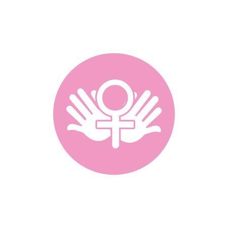 hands female gender sign breast cancer awareness Standard-Bild - 131161999