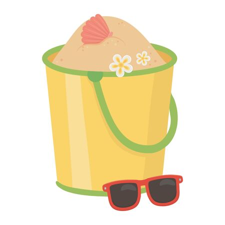 Sand bucket design, Summer beach toy vacation leisure and play theme Vector illustration
