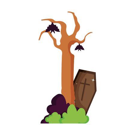hanging bats coffin tree trick or treat, happy halloween Illustration