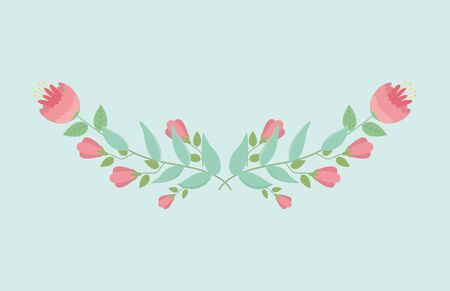 roses flowers and leafs wreath decoration vector illustration design Illustration