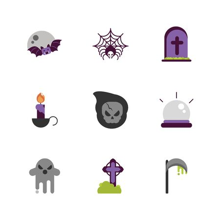 set of icons trick or treat happy halloween vector illustration Иллюстрация