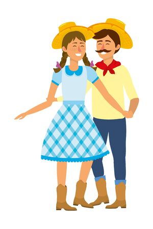 festa junina brazil party couple wearing traditional clothes cartoon vector illustration graphic design Фото со стока - 131194507