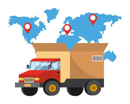 truck with a big box in the back and a map with location pointer vector illustration graphic design Ilustração