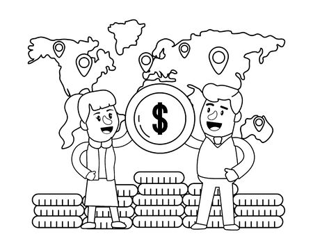 Banking teamwork financial planning worldwide locations currency money coins black and white vector illustration graphic design Çizim