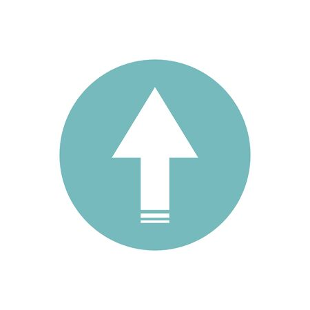 icon of up arrow direction in color circle Ilustração