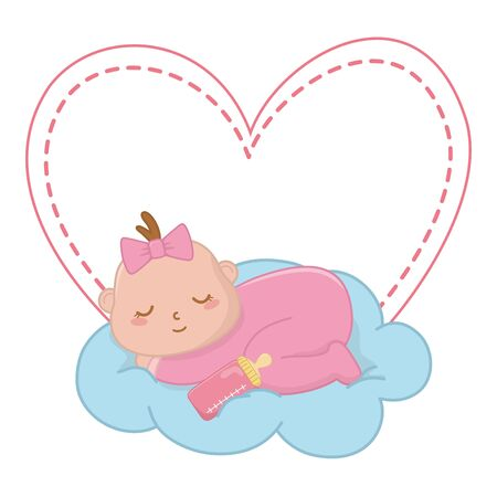 baby sleeping over a cloud with feeding bottle and a heart behind vector illustration graphic design